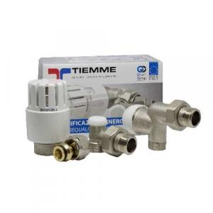 """Комплект аксиален вентил 1/2""""x16, термостатична глава и ъглов секретен вентил 1/2""""x16 + адаптори ф16 (2 бр.) /TIEMME/"""